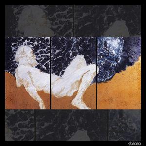 Malerei - Triptychon 154 x 75cm Acryl/Mischtechnik auf Hartfaser 1996
