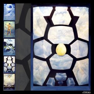 Eierläuferserie Bild 4 Malerei 100 x 150cm Acryl auf Hartfaser 1995