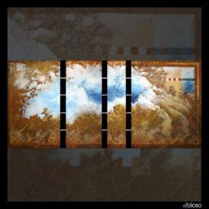 Malerei 224 x 100cm 4 Teile (60 x 100 / 40 x 100 / 20 x 100 / 80 x 100) fest verbunden mit 4 Eisenrohren (durch die Rahmen) - Abstand etwa 8cm Acryl auf Hartfaser 2006