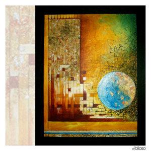 Grafik 32,5 x 41cm Acryl/Blattgold -silber -kupfer auf Hartfaser / 2005